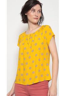 Blusa Ciganinha Poã¡- Amarela & Bege Escurovip Reserva