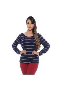 Blusa Básica B'Bonnie Listrada De Lurex Paola Azul Marinho