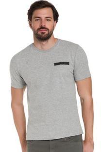 Camiseta Com Bordado Em Malha Cinza Hangar 33