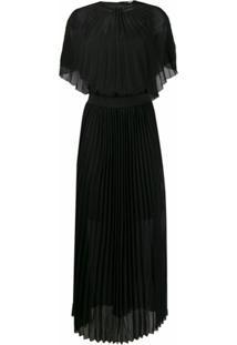 Karl Lagerfeld Vestido Longo Com Pregas - Preto