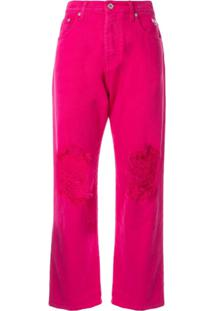 Msgm Calça Cropped Destroyed - Rosa