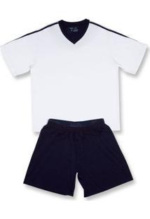 Conj. Pijama Modal Curto Azul Marinho Gg