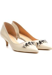 Scarpin Couro Shoestock Salto Baixo Corrente - Feminino-Off White