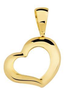 Pingente Toque De Joia Coração Vazado Liso - Feminino-Dourado