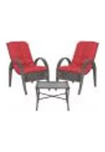 Jogo Cadeiras 2Un E Mesa P/ Jardim Edicula Varanda Descanso Trama Napoli Plus Tabaco A16