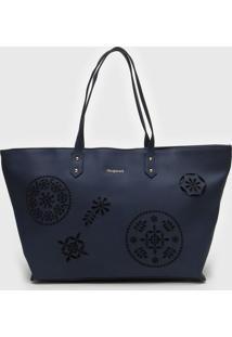 Bolsa Desigual Shopping Bag Inãªs Azul-Marinho - Azul Marinho - Feminino - Dafiti