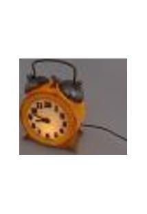 Luminária De Mesa Com Relógio Amarelo