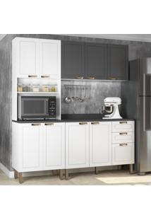 Cozinha Completa 4 Peã§As Americana Multimã³Veis 5906 Branco/Grafite - Branco/Incolor - Dafiti