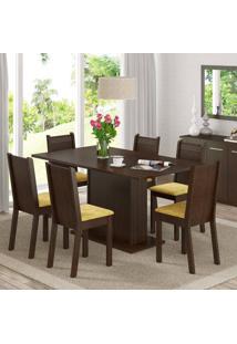 Conjunto Sala De Jantar Mesa E 6 Cadeiras Megan Madesa Tabaco/ Palha