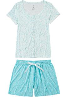 Pijama Curto Aberto Floral Malwee (1000073609) Plus Size, Azul, Exx