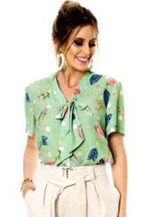 Camisa Bisô Laço Estampada Feminina - Feminino-Verde