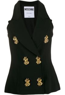 Moschino Embellished Buttons Vest - Preto