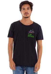 Camiseta Estonada Corte À Fio Estampada Joss Caixão Skull Preto