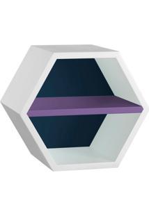 Nicho Hexagonal Favo Ii Com Prateleira Branco Com Azul Noite E Roxo