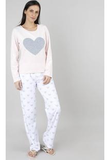 Pijama De Inverno Feminino Em Fleece Coração Manga Longa Rosa Claro