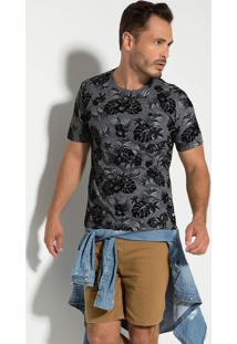 Camiseta Seeder Meia Malha Floral Preta