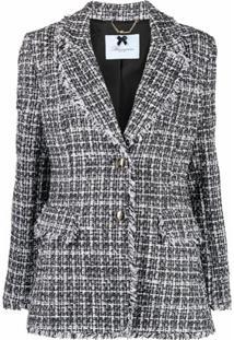 Blumarine Blazer Com Abotoamento Simples De Tweed - Preto