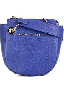 Bolsa Couro Jorge Bischoff Mini Bag Alça Transversal Feminina - Feminino-Azul Royal