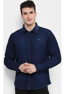 Camisa Jeans Colcci Moletom Indigo Stretch Masculina - Masculino