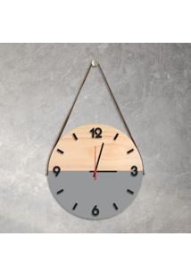 Relógio De Parede Decorativo Adnet Cinza Com Números Em Relevo Médio