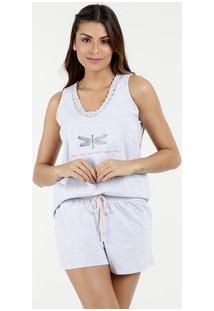 Pijama Feminino Short Doll Estampa Libélula Marisa