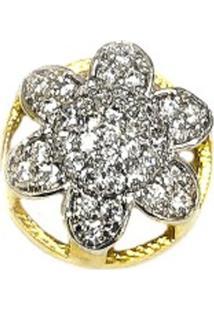 Pingente Prata Mil Flor De Ouro C/ Zircônia E Ródio Ouro
