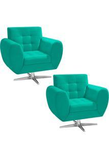 Kit 02 Poltronas D'Rossi Decorativa Grécia Suede Verde Tiffany Com Base Giratória Estrela Aço Cromado