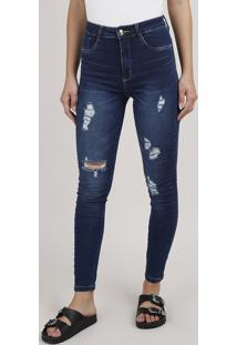 Calça Jeans Feminina Sawary Skinny Push Up Cintura Alta Destroyed Azul Escuro