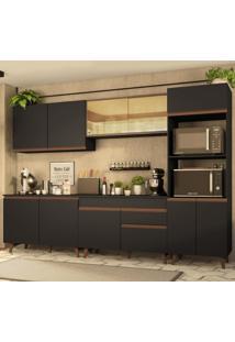Cozinha Completa Madesa Reims 310001 Com Armário E Balcão - Preto/Rustic Preto