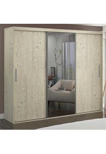 Guarda-Roupa Casal 3 Portas Com 1 Espelho 100% Mdf 1979E1 Marfim Areia - Foscarini