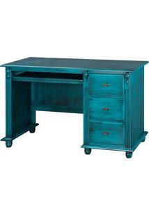 Escrivaninha Com 3 Gavetas E Nicho Azul Pasta