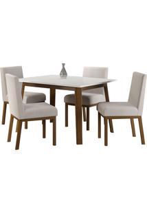 Conjunto De Mesa C/ 4 Cadeiras Suiça - Volttoni - Nogueira / Branco