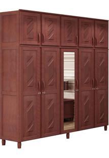 Guarda-Roupa Grécia Casal Mogno Fosco Com Espelho 10 Portas Madeira Maciça De Pinus Cavazotto