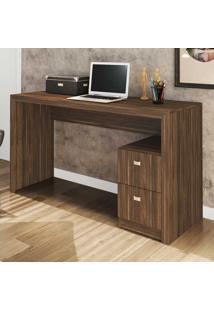 Mesa Para Escritório 2 Gavetas Me4130 Nogal - Tecno Mobili