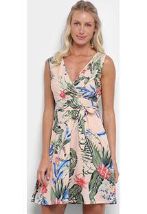 Vestido Lily Fashion Curto Com Decote Tranpassado Floral - Feminino-Bege
