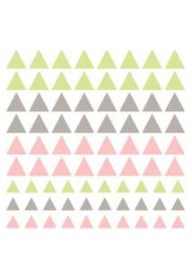 Adesivo De Parede Quartinhos Triangulos 78Un Verde, Cinza E Rosa