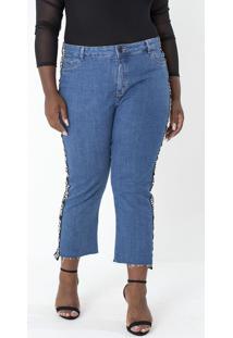Calça Jeans Reta Com Faixa Na Lateral Curve & Plus Size