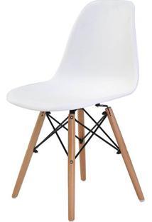 Cadeira Eames Eiffel Polipropileno Branca Base Madeira - 44158 Sun House