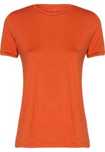 Camiseta Feminina Decote Careca Essencial Ocre