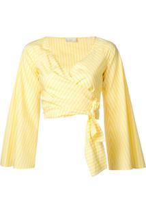 Sara Battaglia Blusa Cropped Envelope - Amarelo