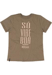 T-Shirt Nogah Sã³ Vibe Boa Caqui - Marrom - Feminino - Algodã£O - Dafiti