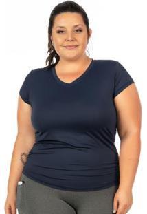 Blusa Plus Size Com Proteção Uv Marinho Janfer