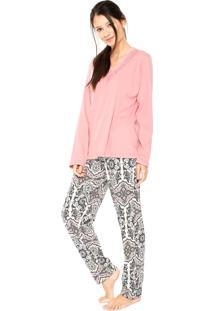 Pijama Pzama Étnico Rosa/Bege