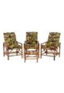 Conjunto Mesa E 3 Cadeiras De Bambu Cancun Para Área Edicula Jardim G20
