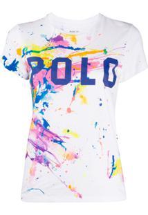 Polo Ralph Lauren Camiseta Com Estampa De Respingos De Tinta - Branco