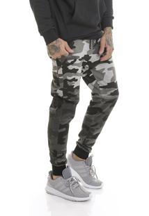 Calça Offert Jogger Moletom Premium Camuflada Degradê Slim Fit