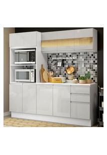Cozinha Compacta 100% Mdf Madesa Smart 190 Cm Com Armário, Balcáo E Tampo - Frentes Branco Brilho Branco