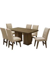 Conjunto De Mesa Para Sala De Jantar Com 6 Cadeiras Esparta-Dobue - Castanho / Bege