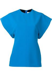 Victoria Victoria Beckham Blusa Mangas Curtas - Azul