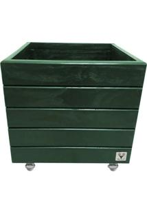 Vaso Madeira Rodinha Cachepot Alce Couch Verde 40X40X40 - Verde - Dafiti